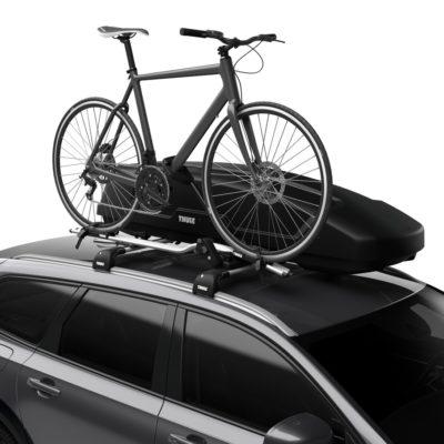 Bike on car roof rack