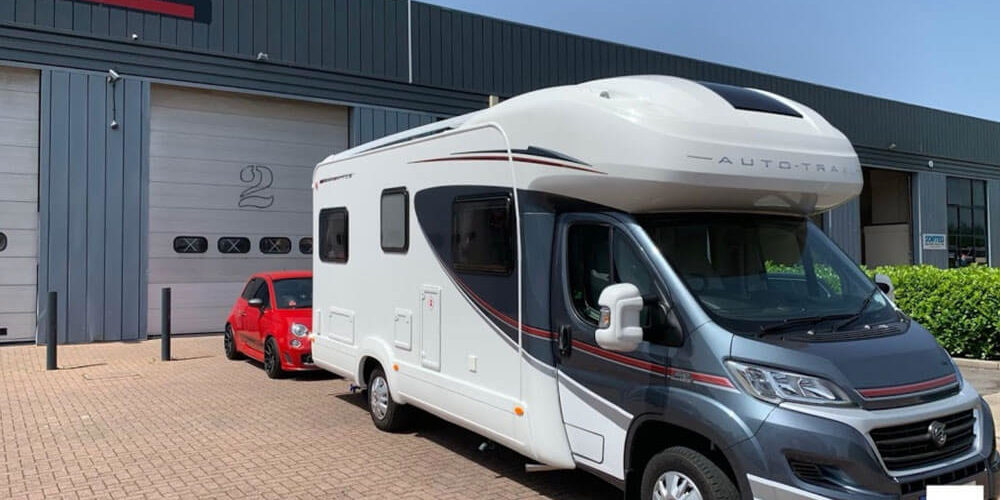 Showroom with Motorhome by LNB Towbars and Vehicle Extras